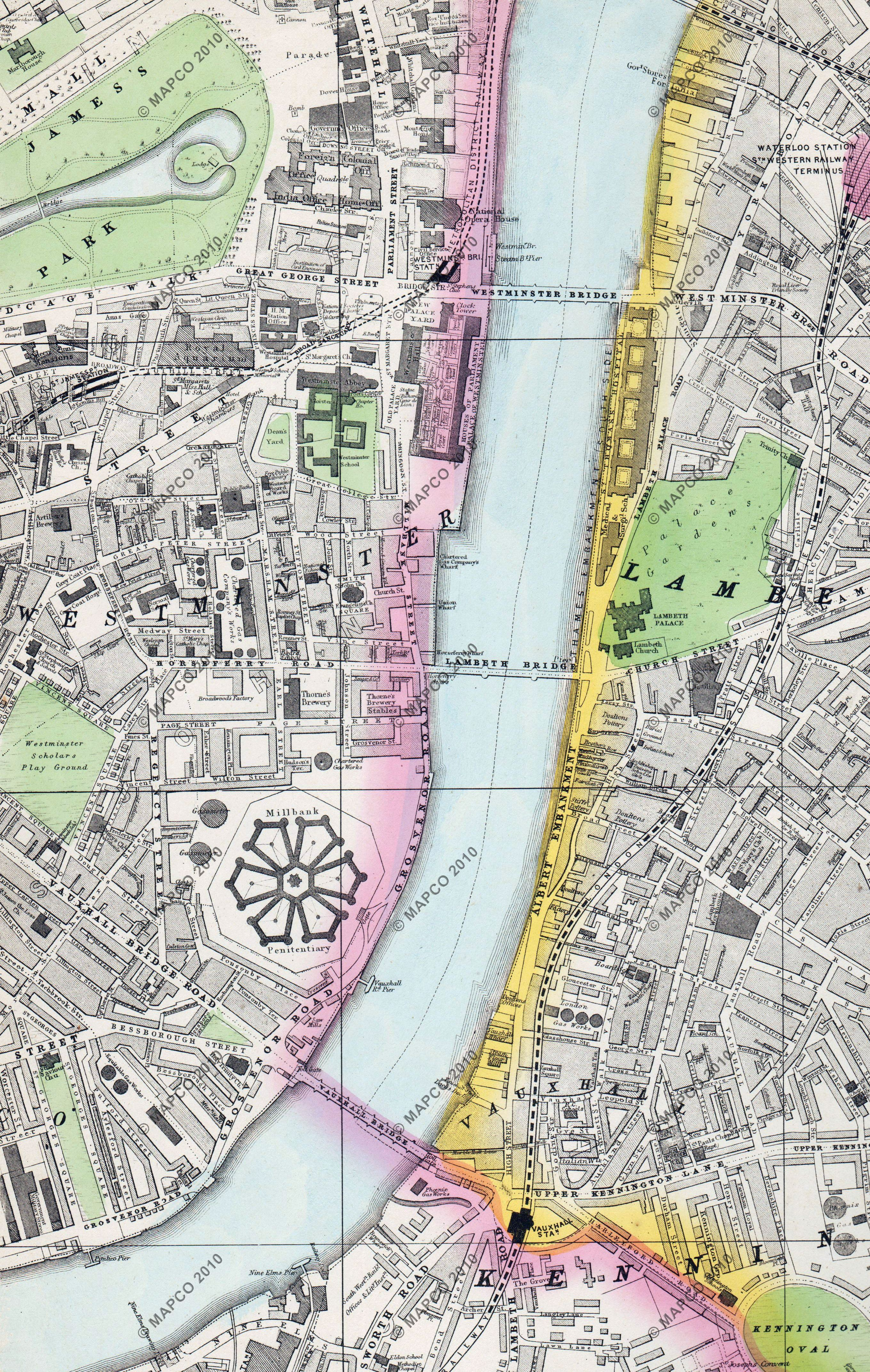Map Of London 1880 Bacons Large Scale Atlas