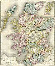Betts's New Map Of Scotland c1847