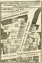 Plan Of The Great Fire In Bishopsgate Street, &c., 1765