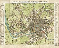 Lavars's New & Improved Map Of Bristol & Clifton c1863.
