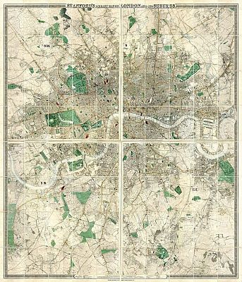 Stanford�s Library Map Of London And Its Suburbs 1872