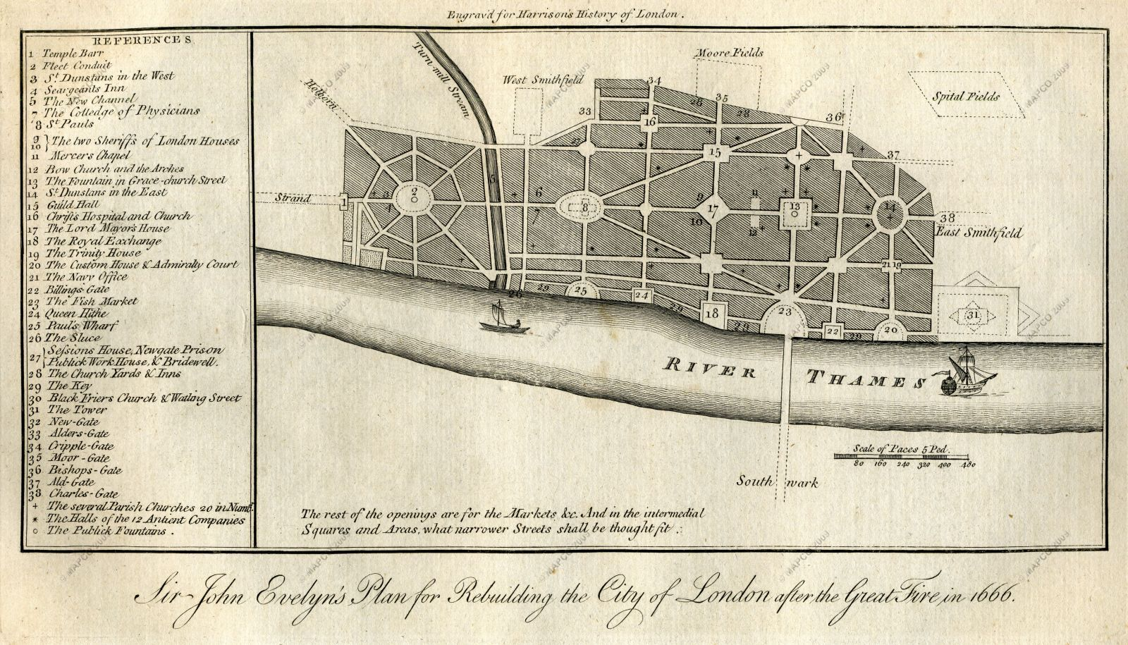 Great Fire Of London Map.Evelyn S Plan For Rebuilding London After The Great Fire In 1666