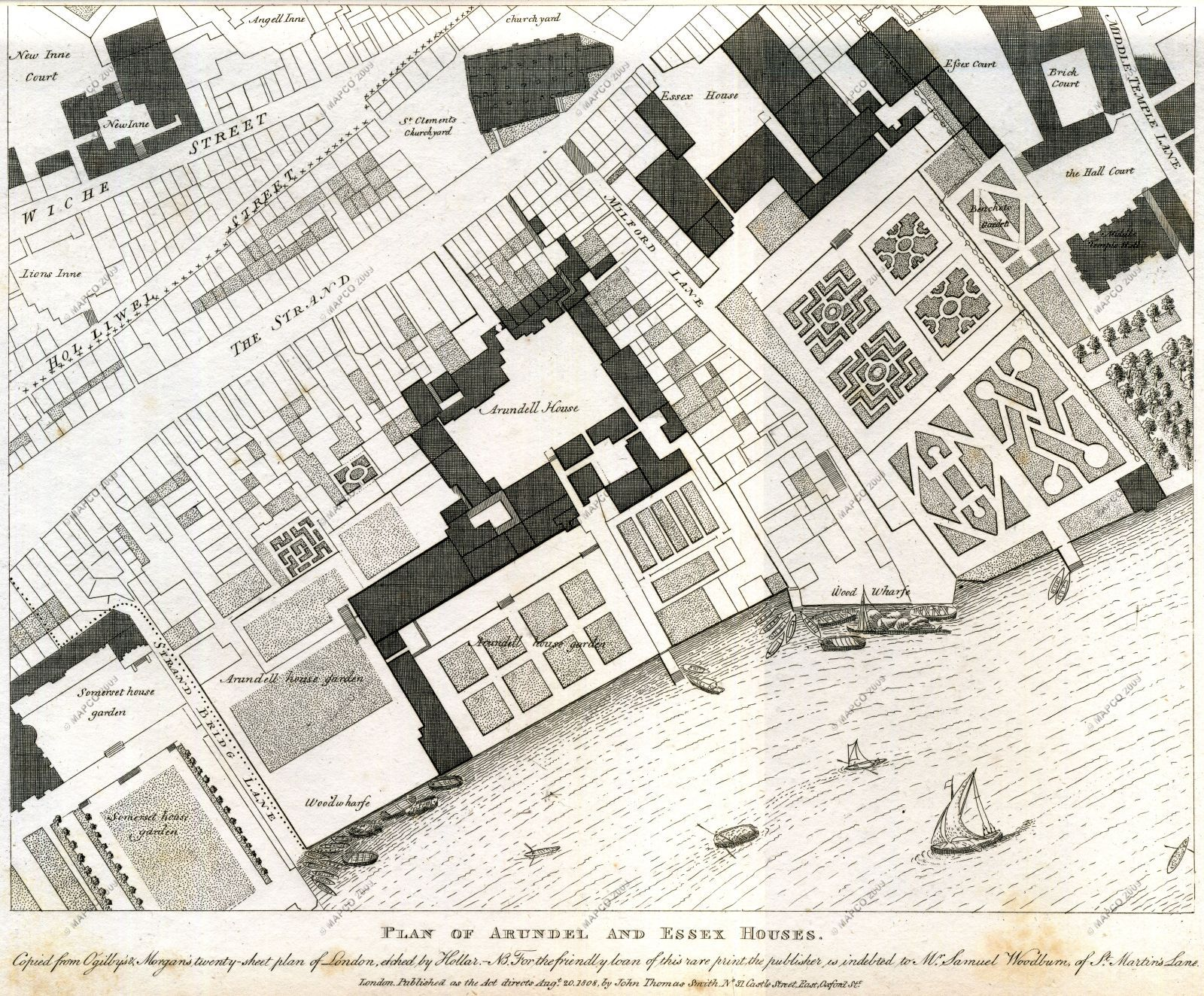 Plan of arundel and essex houses 1677 for Classic house old street london