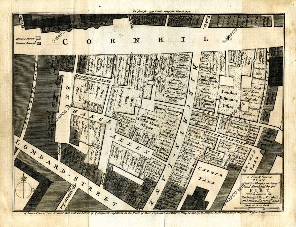 Plan Of The Fire In Exchange Alley, Cornhill, 1748