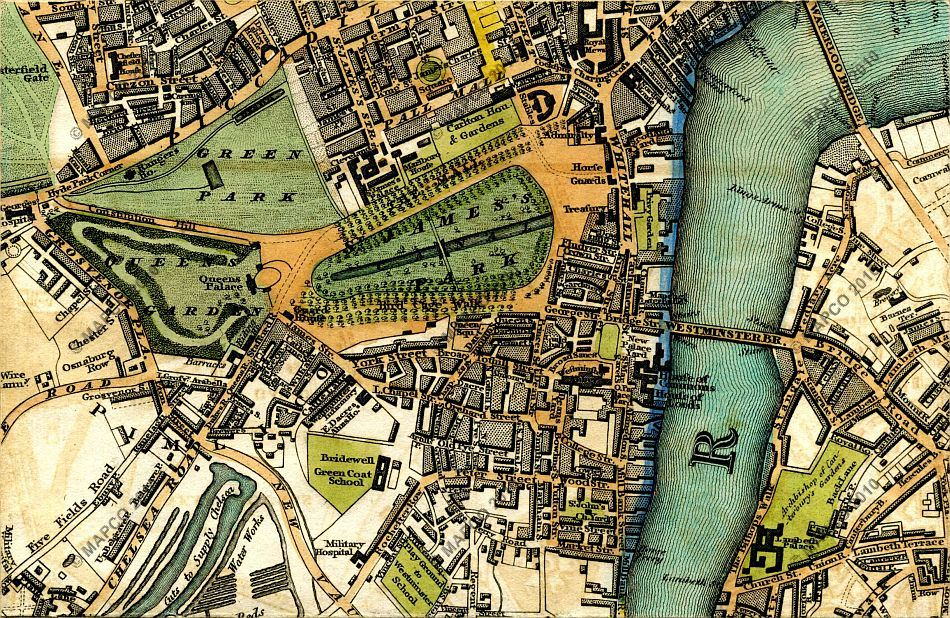 The Mall London Map.Map Of London 1817 By William Darton