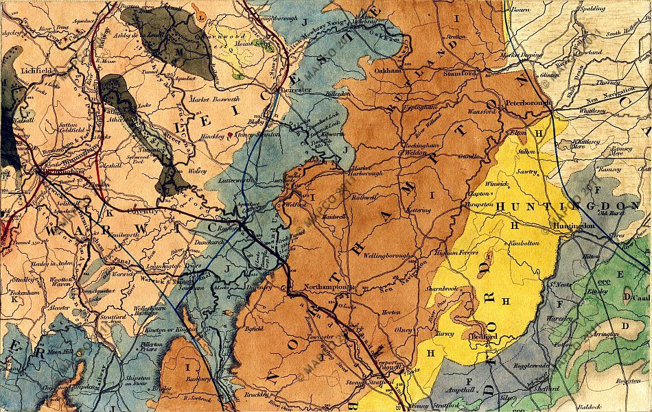 Map Of England Leicester.Geological Map Of England Wales And Part Of Scotland C1836 By J