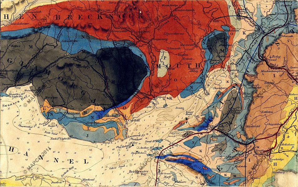 Bristol On The Map Of England.Geological Map Of England Wales And Part Of Scotland C1836 By J