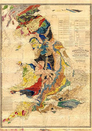 Walker's Geological Map Of England, Wales, And Part Of Scotland c1836