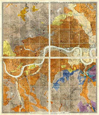 Stanford's Geological Library Map Of London And Its Suburbs 1878