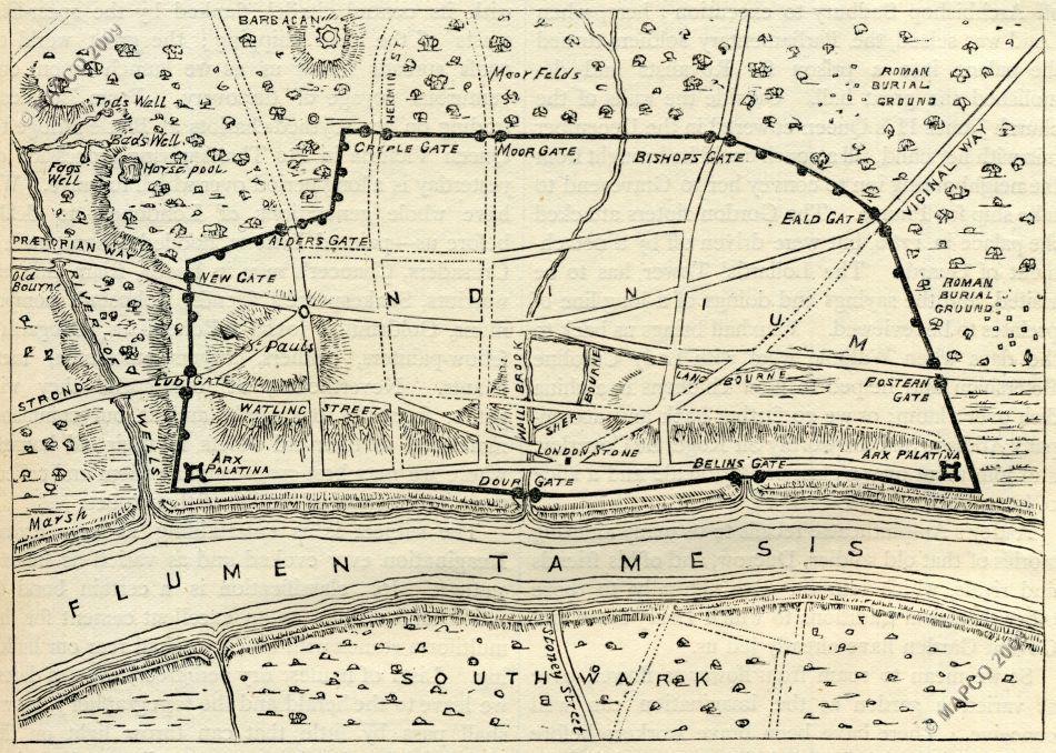 Map Of Roman London Post Ad190