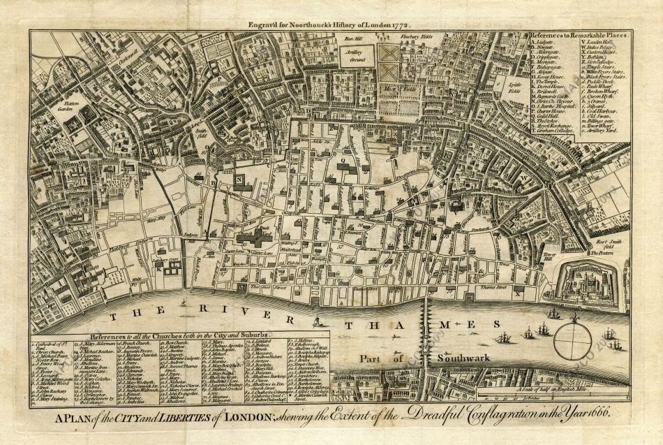 Great London Map.Mapco Map And Plan Collection Online Map Of The Great Fire Of